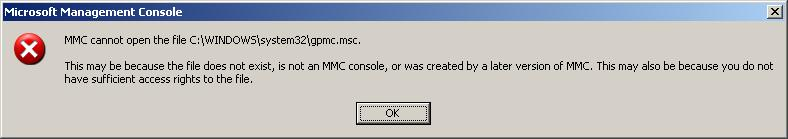 MMC cannot open the file C:WINDOWSsystem32gpmc.msc : FIX