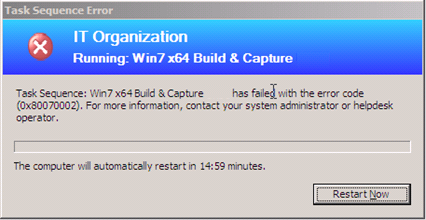 ConfigMgr 2012 : Build and Capture Fails with 0x80070002