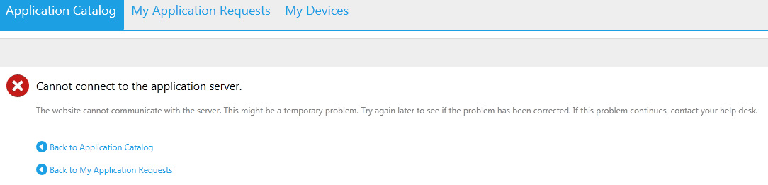 ConfigMgr : Application Catalog Cannot Connect to the Application Server